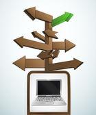 Signpost navigation to internet surfing vector — Stock Vector