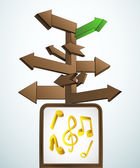 Signpost navigation to music concert vector — Wektor stockowy