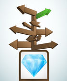 Signpost navigation to diamond wealth vector — Vector de stock