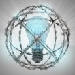 Lighted bulb in barbed wire sphere with flare — Stock Photo