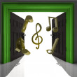 Stock Photo: Flying music sound through green doorway
