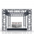 Isolated show stage with ninepins — Stock Photo