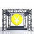 Isolated show stage with yen or yuan coin — Stock Photo