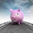 Stock Photo: Highway with pink pig and sky flare