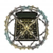 Isolated protected calculator in barbed sphere fence — Stock Photo