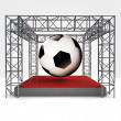 Sport exhibition under steel framework construction — Stock Photo