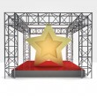 Top star rated performance under steel framework construction — Stock Photo