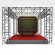 Television exhibition under steel framework construction — Stock Photo