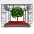 Tree exhibition under steel framework construction — Stock Photo