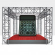 Build cost calculator under steel framework construction — Stock Photo