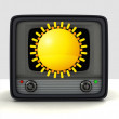 Broadcasting weather forecast television advertisement — Stock Photo