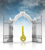 Open baroque gate with golden key and sky — Stock Photo