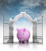 Open baroque gate with pig and sky — Stock Photo