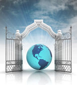 Open baroque gate with asia on globe with sky — Stok fotoğraf