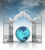 Open baroque gate with america on globe with sky — Stockfoto