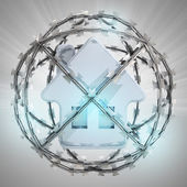 Blue house in barbed wire sphere with flare — Stock Photo