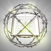 Education book in barbed wire sphere with flare — Foto Stock