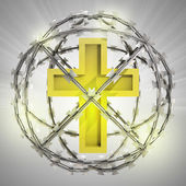 Golden cross in barbed wire sphere with flare — Stock Photo