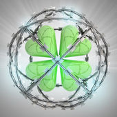 Cloverleaf in barbed wire sphere with flare — Stock Photo