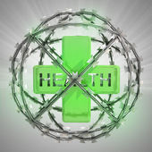 Health cross in barbed wire sphere with flare — ストック写真