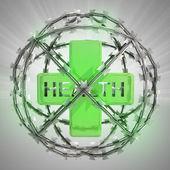 Salud cruz en esfera de alambre de púas con la llamarada — Foto de Stock