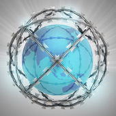 Asia on globe in barbed wire sphere with flare — Stok fotoğraf