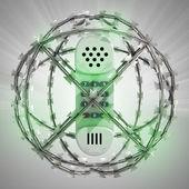 Teléfono en esfera de alambre de púas con la llamarada — Foto de Stock