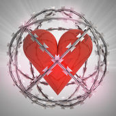 Heart in barbed wire sphere with flare — Stock Photo