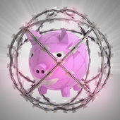 Pig in barbed wire sphere with flare — Stock Photo
