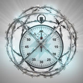 Stopwatch in barbed wire sphere with flare — Stock Photo
