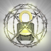 Padlock in barbed wire sphere with flare — Stock Photo