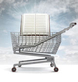 Education book in shoping cart with sky flare — Stock Photo