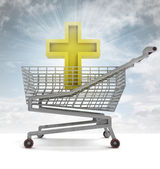 Golden holy cross in shoping cart with sky flare — Stock Photo