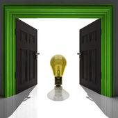 Yellow shining bulb in doorway — Stock Photo
