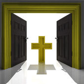 Holy cross in golden framed doorway — Stock Photo