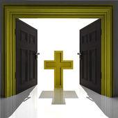 Holy cross in golden framed doorway — Stock Photo