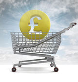 British pound in shoping cart with sky flare — Stock Photo