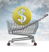 American dollar coin in shoping cart with sky flare — Stock Photo