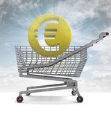 Euro mince v košík s oblohu záře — Stock fotografie