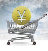 Yuan or yen coin in shoping cart with sky flare — Stock Photo