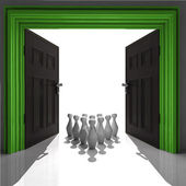 Ninepins in green framed doorway — Stock Photo