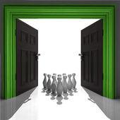 Ninepins in green framed doorway — Stock Photo
