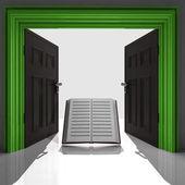 教育书在绿色裱门口 — 图库照片