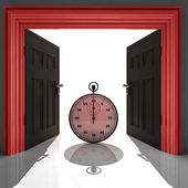 Stopwatch in red doorway frame — Stockfoto