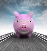 Highway with pig front and sky flare — Stock Photo