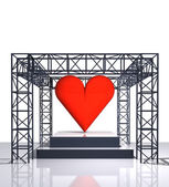 Isolated show stage with red heart — Foto Stock