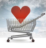 Shoping cart with red heart and sky flare — Stock Photo