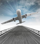 Highway with airplane take of and sky flare — Stock Photo