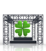 Isolated show stage with green cloverleaf — Stock Photo