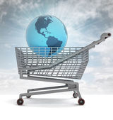 Shoping cart with america on globe and sky flare — Stock Photo
